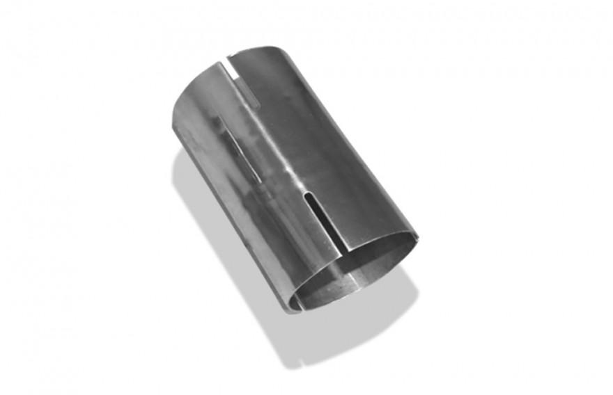 Doppelmuffe Edelstahl 63,5mm innen L=120mm rechts// links geschlitzt UNI-DM63