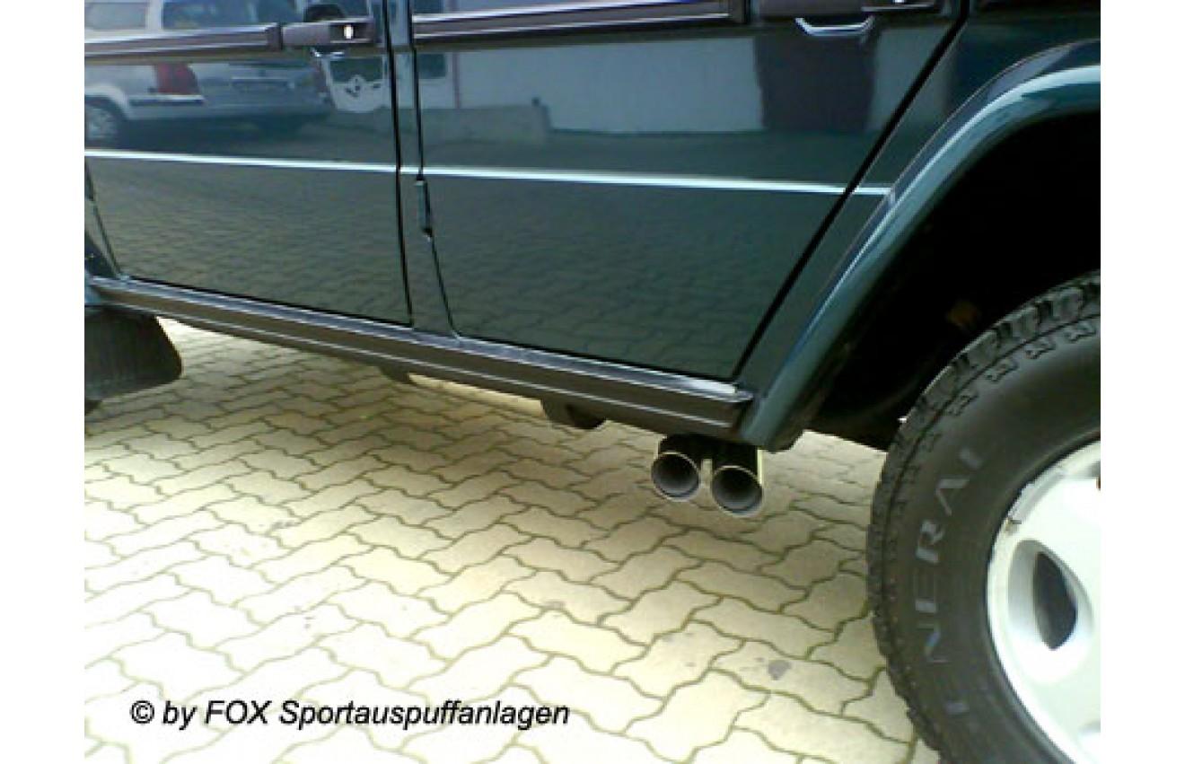 fox sportauspuff quer mercedes g klasse w463 bj 1996 2000 ohne trittbrett endrohr 2x76mm rund. Black Bedroom Furniture Sets. Home Design Ideas